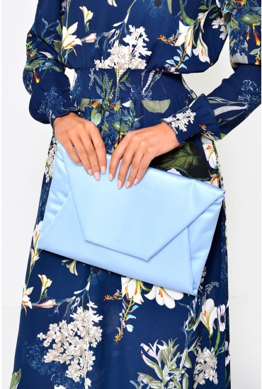 Lydiah Satin Clutch Bag in Blue