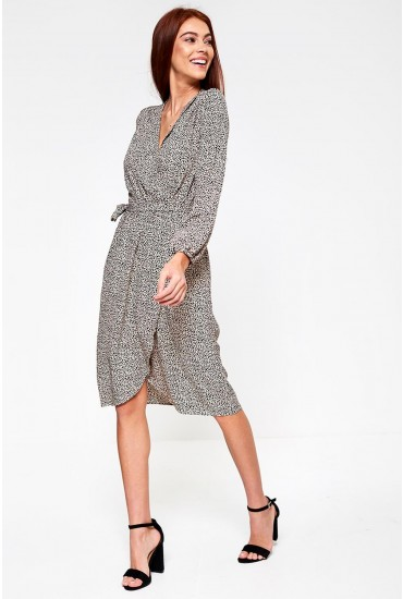 Cecilie Wrap Dress in Animal Print