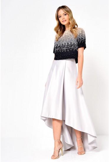 Celine Satin High Low Skirt in Grey