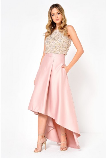 Celine Satin High Low Skirt in Rose