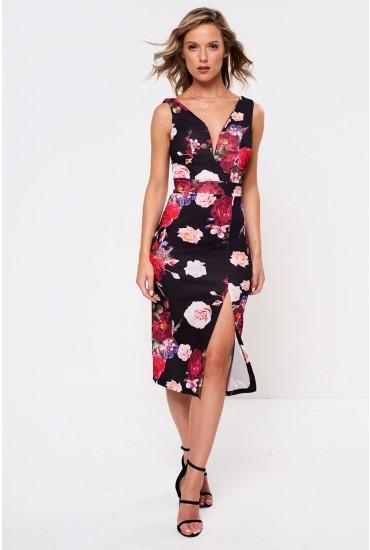 Lottie Plunge Neck Printed Midi Dress