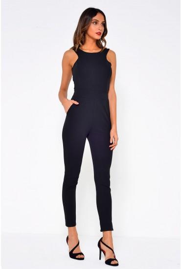 Terri Criss Cross Back Jumpsuit in Black