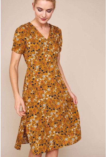 Chantal Ditsy Print Tea Dress in Mustard