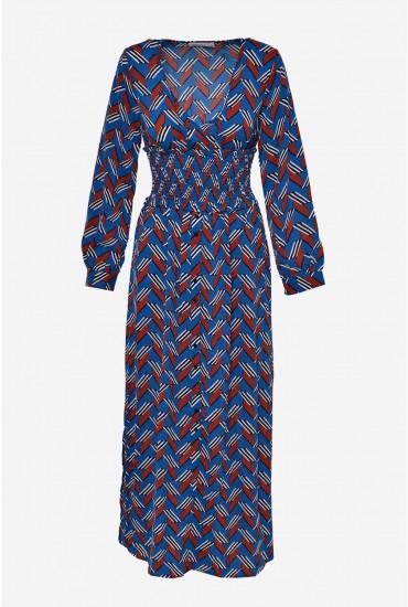 Charlie Long Sleeve Maxi Dress in Blue Geometric Print