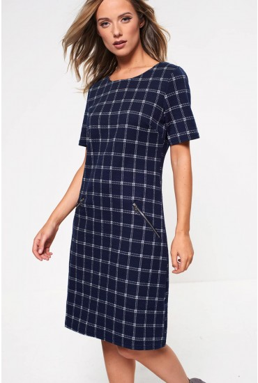 Evelynn Check Print Shift Dress in Navy