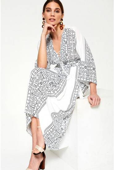Chiara Monochrome Maxi Dress in White