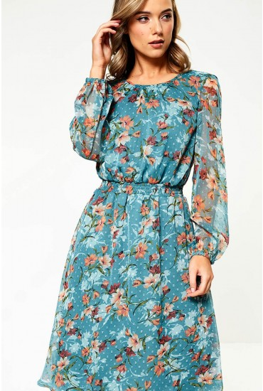 Ida Chiffon Overlay Dress in Teal Floral Print