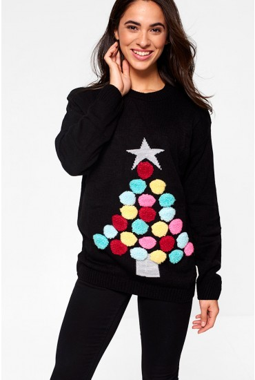 Christmas Tree Jumper in Black