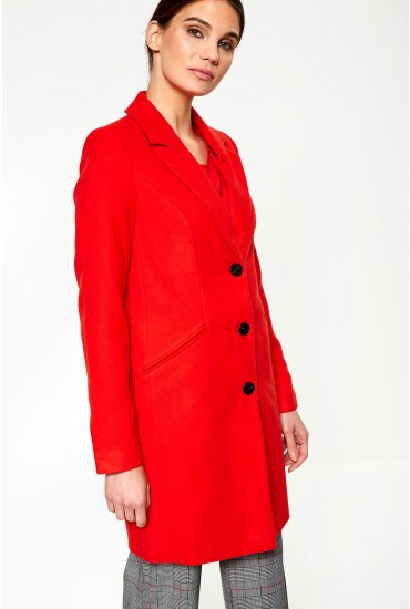 Cindy Single Breasted Coat in Red