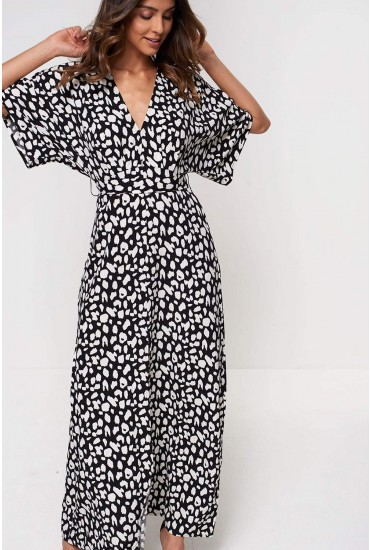 Saskia Maxi Dress in Monochrome Animal Print