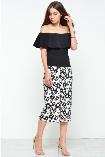 Kyra Print Skirt in Black and Cream