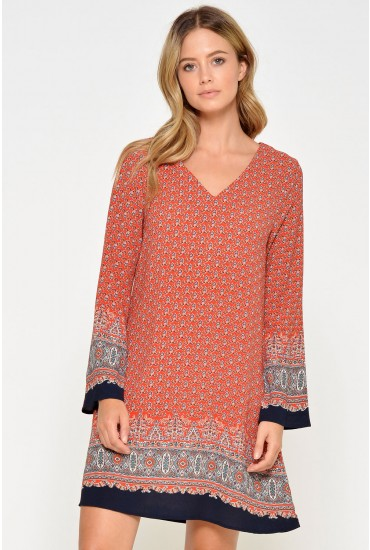 Eliza Printed Tunic in Red