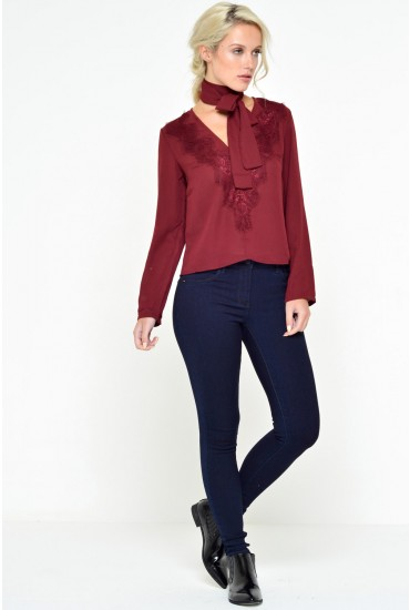 Louise Lace and Chiffon Top in Burgundy