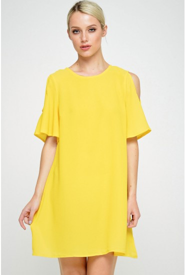 Pia Cold Shoulder Tunic in Yellow