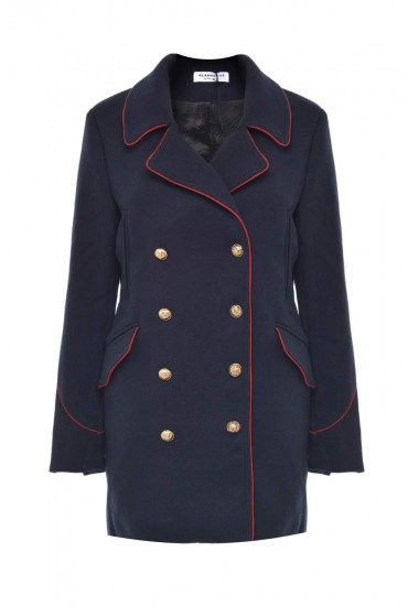 Louisa Double Breasted Military Coat in Navy