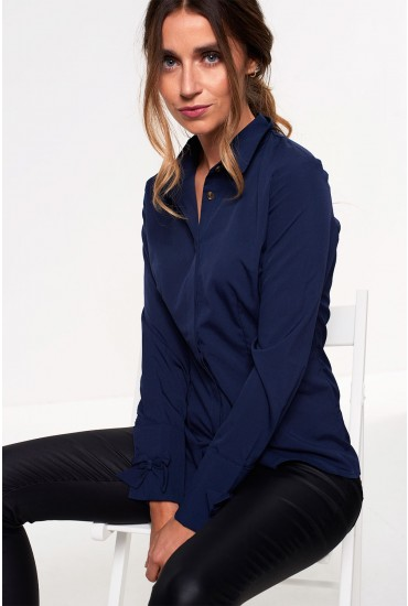 Claire Long Sleeve Shirt with Bow Detail in Navy