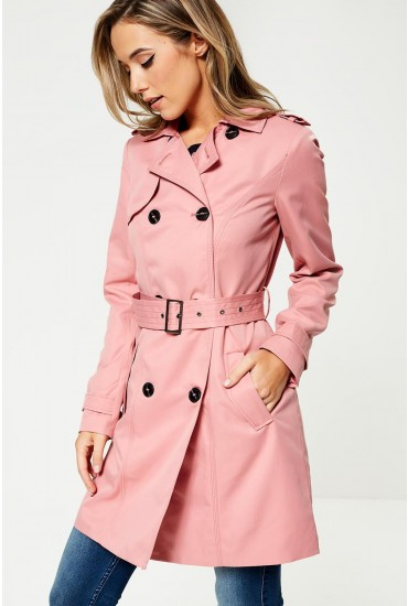 Three Classic Trench Coat in Pink