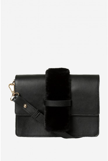 Cleah Crossbody Bag with Faux Fur Detail in Black