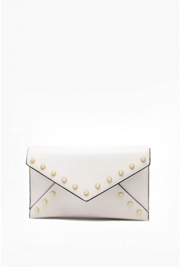 Eve Clutch Bag with Stud Detail in White