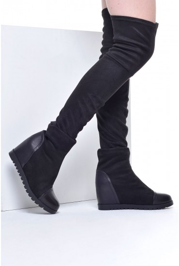 Romy Wedge Ankle Boot with Insert in Black