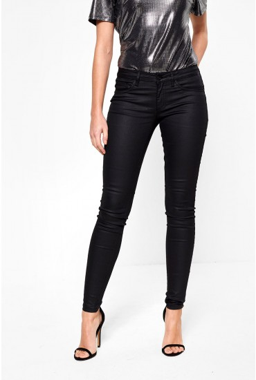 Lucia Regular Skinny Coated Push-Up Pants in Black