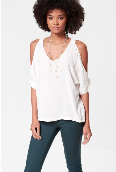 Clara Cold Shoulder Top in Off White