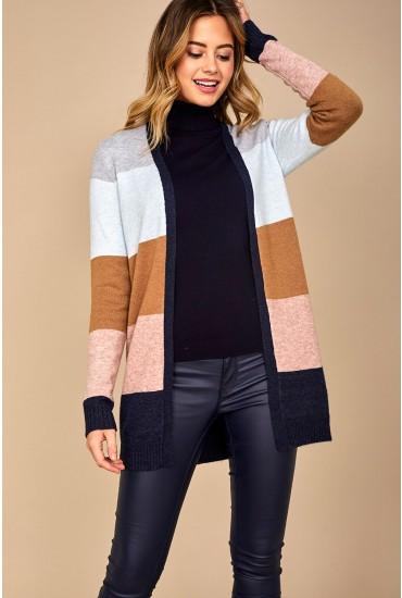Ril Colour Block Cardigan in Beige Stripe