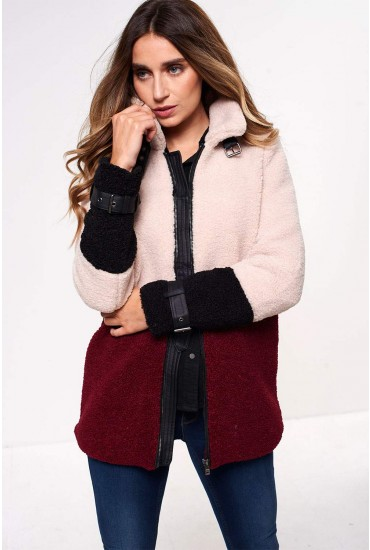 Celina Colour Block Teddy Coat in Burgundy