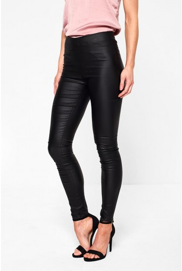 Commit Coated Leggings in Black