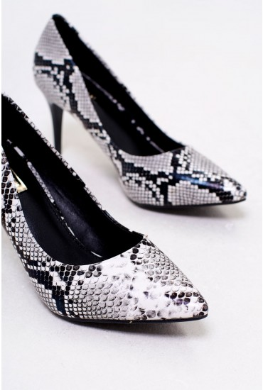 Georgie Pointed Court Heels in Snakeskin