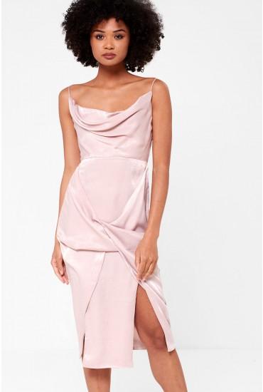 Alison Cowl Neck Drape Dress in Pale Pink