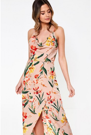 Cici Cowl Neck Maxi Dress in Floral Print