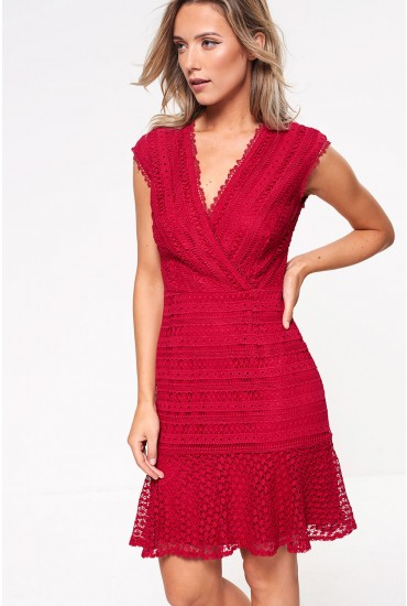 Tania Crochet Peplum Hem Dress in Berry