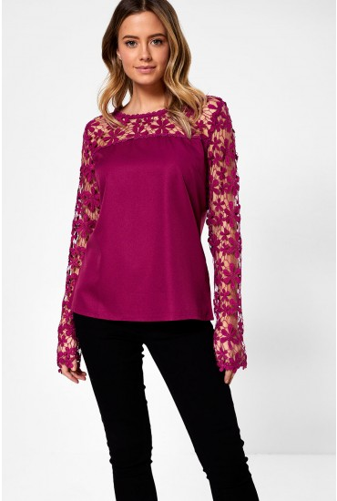 Ilhana Crochet Detail Top in Plum