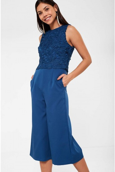 Olivia Flower Crochet Jumpsuit in Teal