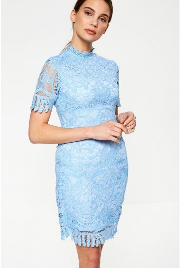 Diana Crochet Overlay Midi Dress in Baby Blue