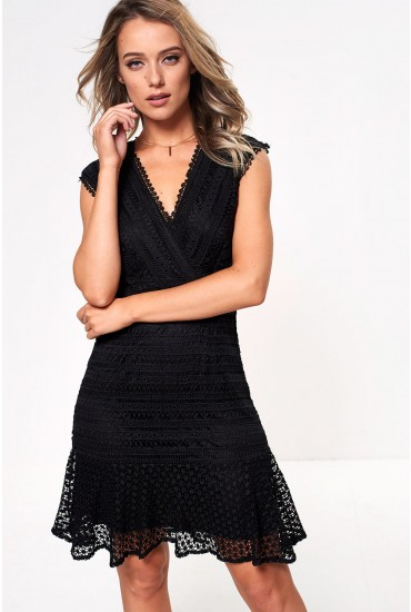 Tania Crochet Peplum Hem Dress in Black