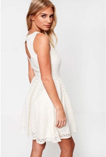 Line Crochet Short Dress in Off White