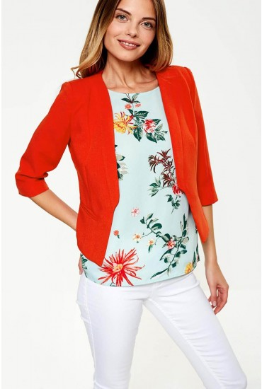 Mia Cropped Blazer in Burnt Orange