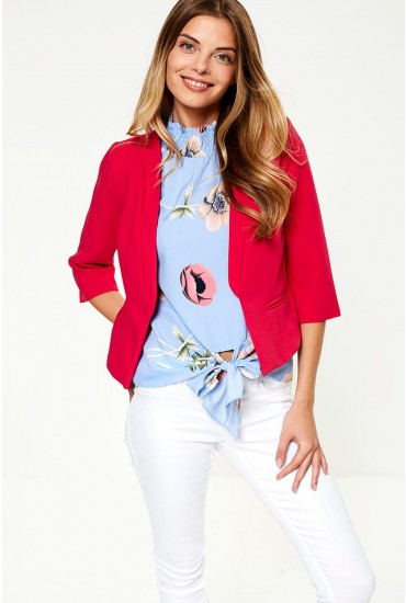 Mia Cropped Blazer in Magenta