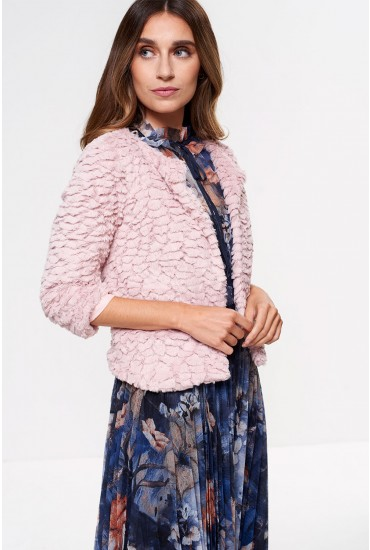 Trinny Cropped Faux Fur in Pink