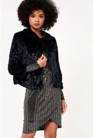 Karen Cropped Fur Jacket in Black