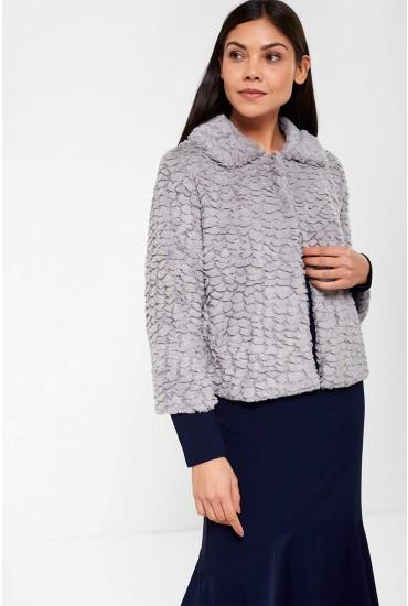 Karen Cropped Fur Jacket in Grey
