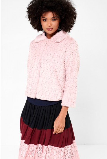Karen Cropped Fur Jacket in Pink