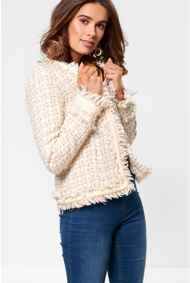 Mica Cropped Tweed Blazer in Cream