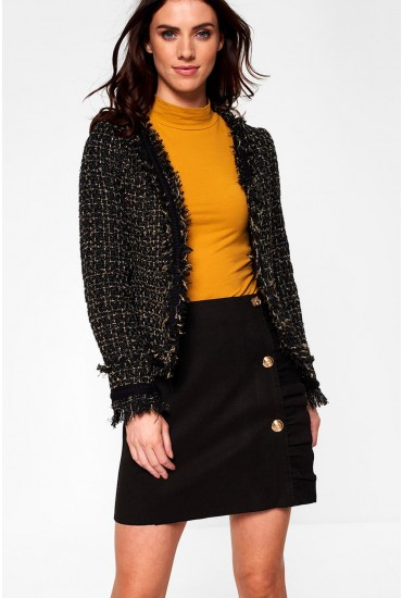 Mica Cropped Tweed Blazer in Black