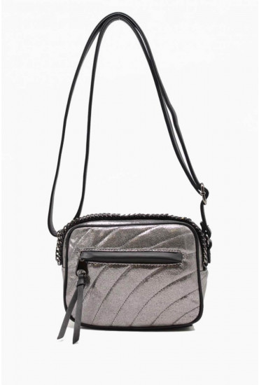 Nirvana Cross Body Bag in Metallic Silver