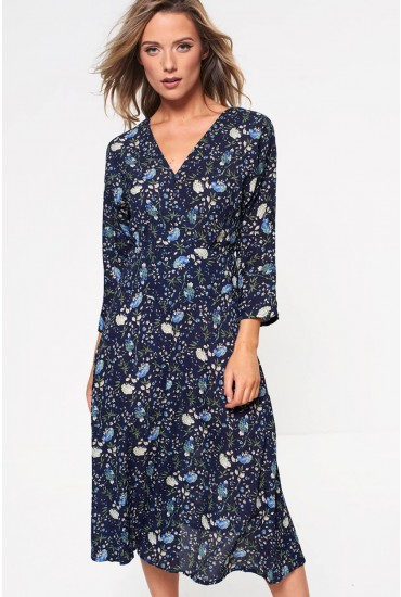 Kellyanne Ditsy Crossover Midi Dress in Navy