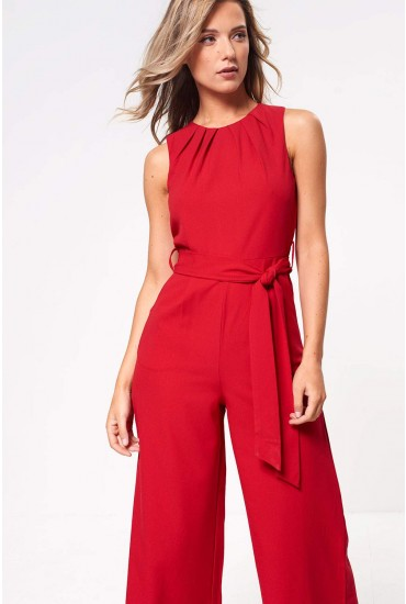 Ella Culotte Jumpsuit in Red