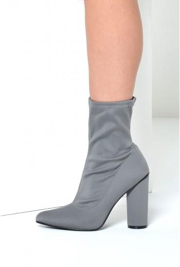 Pauline Elastic Sock Boot in Grey